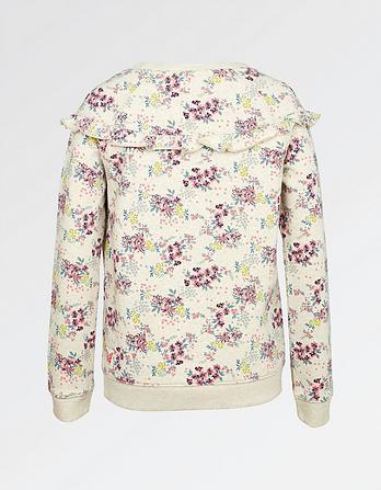 Falling Floral Print Crew Neck Sweatshirt