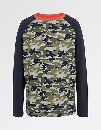Camo Print Raglan T-Shirt