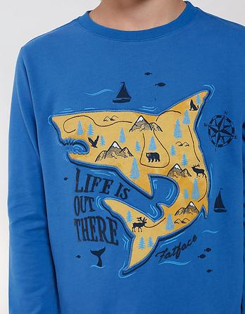 Shark Map Graphic T-Shirt
