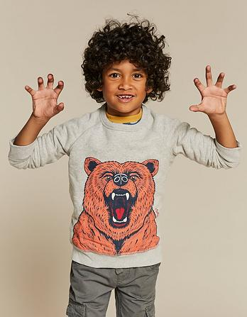 Bear Graphic Crew Neck Sweatshirt