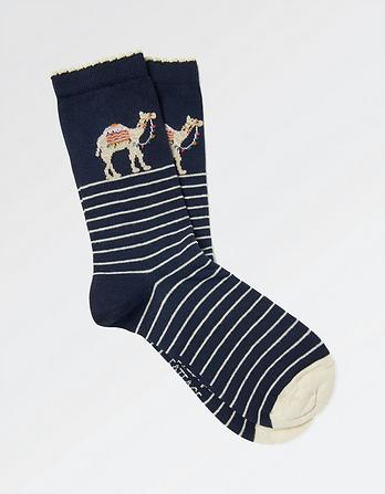 One Pack Camel Stripe Socks