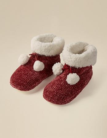 Chenille Pom Pom Slipper Boots