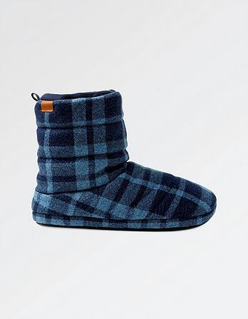 Logan Brushed Check Slipper Boots