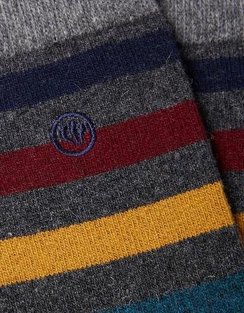 One Pack Block Stripe Merino Socks