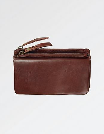Ada Leather Double Zip Wallet