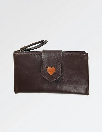 Heart Fold Over Leather Wallet