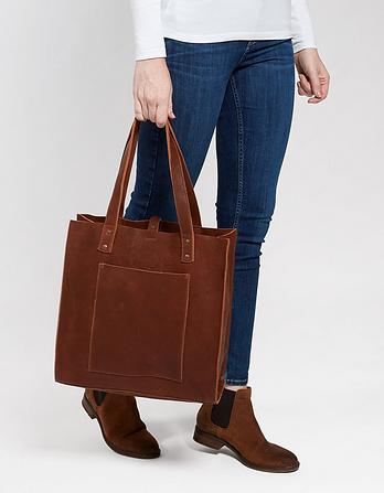 Ausra Leather Portrait Tote Bag