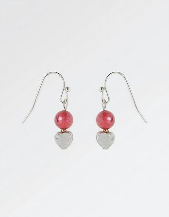 Bead and Heart Drop Earrings