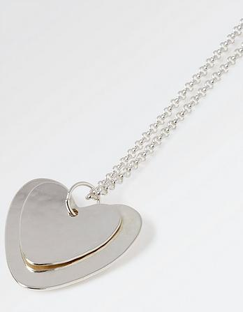Double Heart Long Necklace