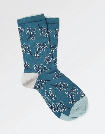 One Pack Floral Sprig Socks