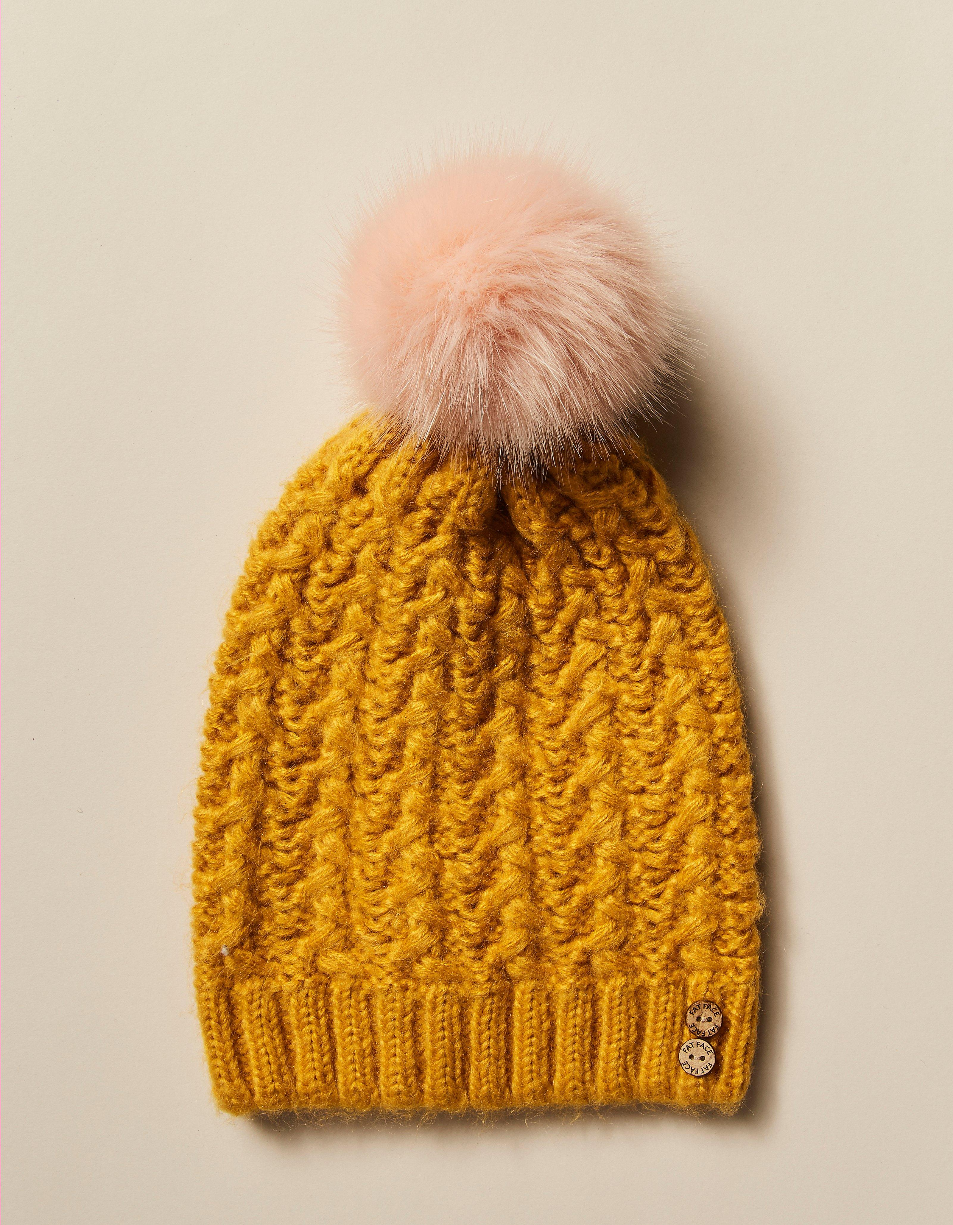 5faa98044c0 Mustard Knitted Pom Beanie
