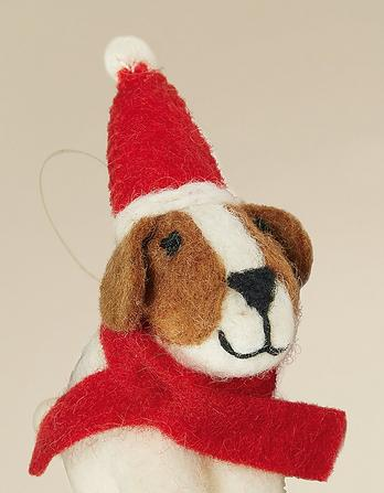 Felt Dog on a Bike Christmas Tree Decoration
