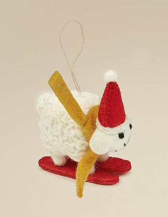 Felt Skiing Sheep Christmas Tree Decoration