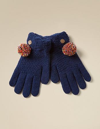 Waffle Knit Pom Gloves