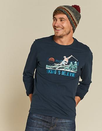 Skiing Believing Organic Cotton Graphic T-Shirt