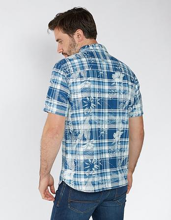 Hawaiian Print Check Shirt