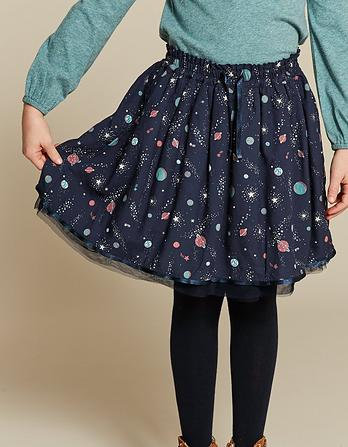 Space Print Woven Skirt
