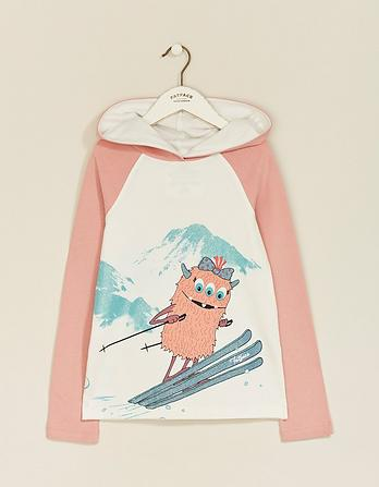 Flora Monster Ski Graphic Hooded T-Shirt
