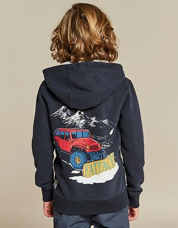 Snowplough Graphic Zip Thru Hoody