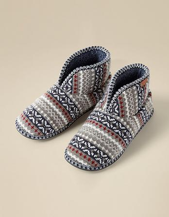 Liam Fairisle Knitted Slipper Boots