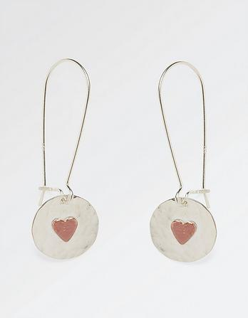 Heart Disc Long Earrings
