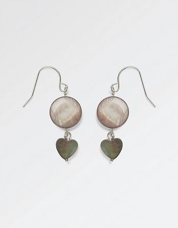 Mother of Pearl Heart Drop Earrings