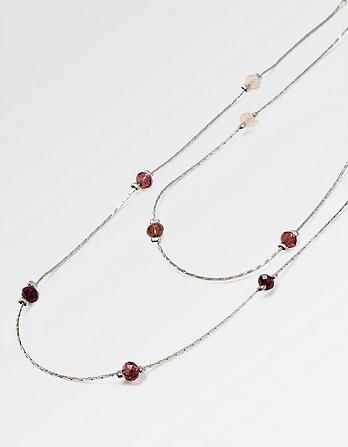 Bead Two Strand Long Necklace