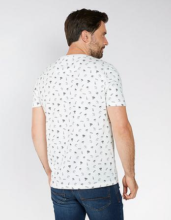 Printed Slub Crew Neck T-Shirt