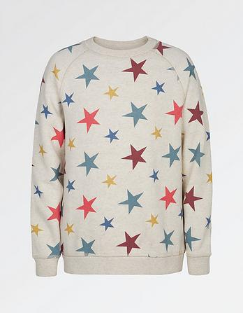 Star Print Crew Neck Sweatshirt