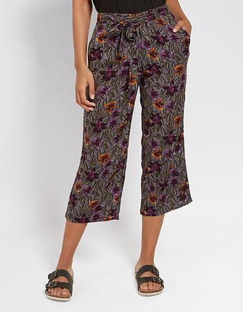 Jungle Floral Wide Leg Crops