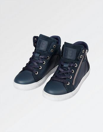 Leather Zip Detail High Top Sneakers