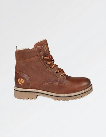 Suede Leather Mix Lace Up Boots