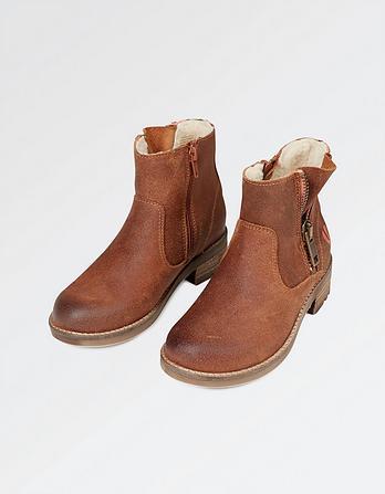 Suede Contrast Zip Boots