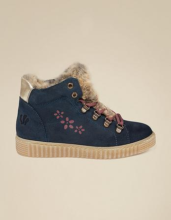 Suede Flower High Top Sneakers