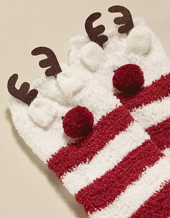 Fluffy Reindeer Socks