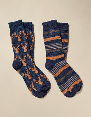 Two Pack Multi Stripe Mallory Socks
