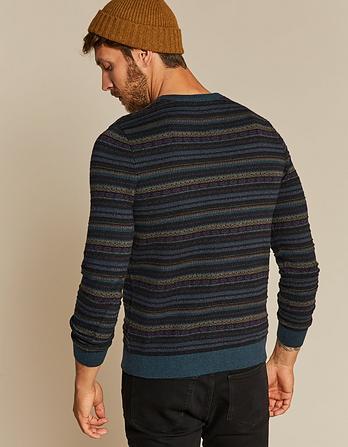Cotton Cashmere Pattern Crew Neck Sweater