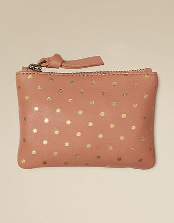 Leather Spot Mini Coin Purse