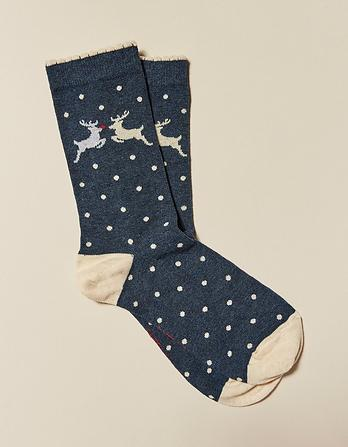One Pack Leaping Deer Socks
