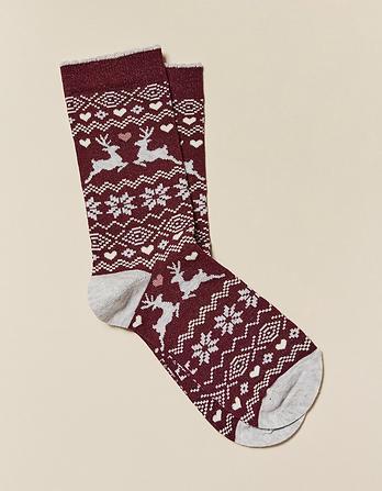 One Pack Deer Fairisle Socks