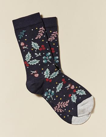One Pack Winter Floral Socks