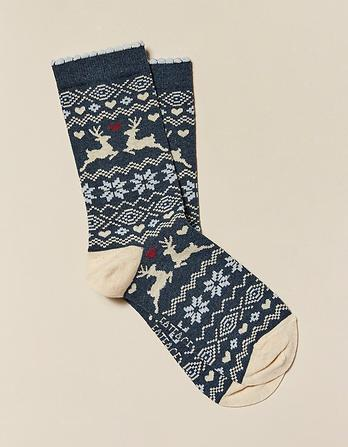One Pack Deer Fairisle Socks