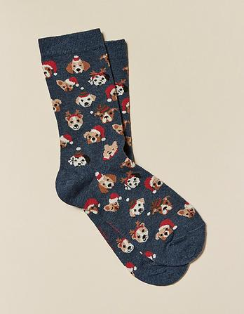 One Pack Christmas Dog Faces Socks