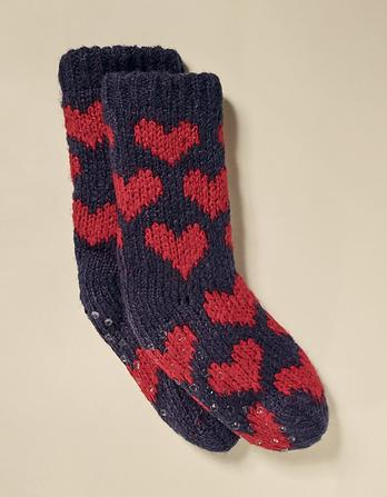 Heart Knit Bed Socks