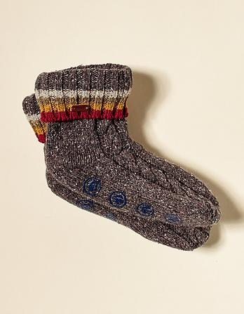 Cable Stripe Bed Socks