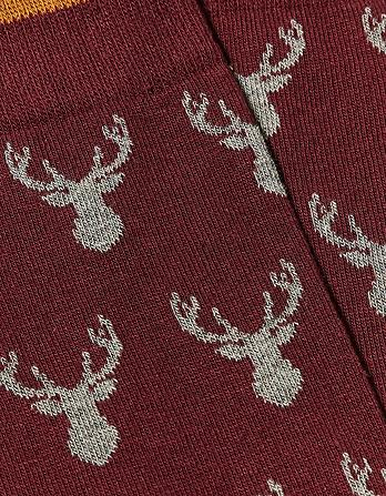 One Pack Stag Heads Socks