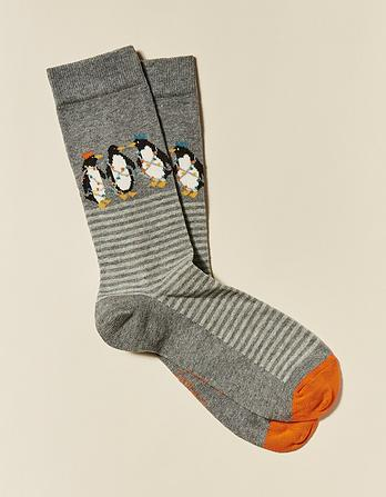 One Pack Silly Penguins Socks