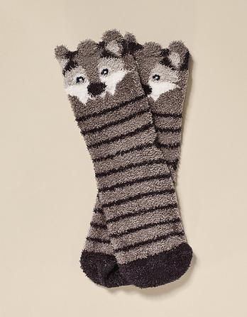 One Pack Whit Wolf Fluffy Socks