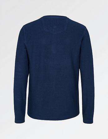 Textured Organic Cotton Henley T-Shirt