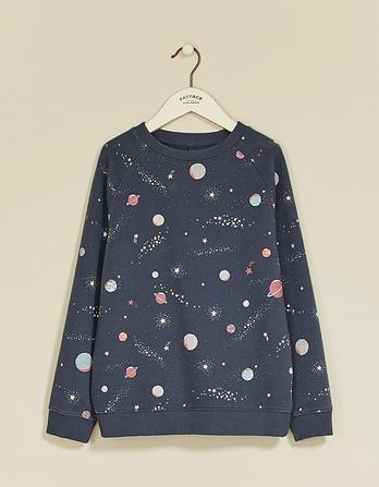 Space Print Crew Neck Sweatshirt